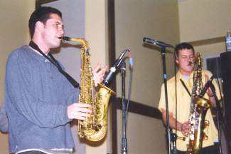 Kim and Ross playing their saxes